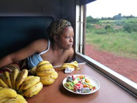 Zambian woman with bunches of bananas on table in front of her looks out of train window (c) Melissa Shales