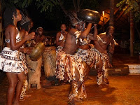 Traditional African dancers in costume at The Boma, Victoria Falls, Zimbabwe (c) Melissa Shales