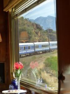 Shot of the front of the Blue Train, taken through the dining car window